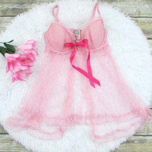 VS Dotted Mesh Flyaway Babydoll Pink Size 36C